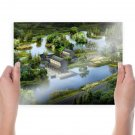 Asian Lake Buildings Trees Cg  Poster 24x18 inch