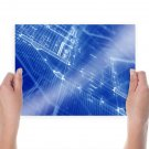 Blueprint Blue  Poster 24x18 inch