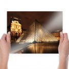 The Louvre Louvre Paris Night Pyramid  Poster 24x18 inch