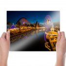 California Adventure Land Disneyland Reflection Ferris Wheel Roller Coaster Gazebo Night  Poster 24x