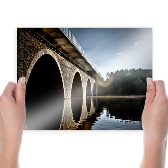 Bridge Reflection River  Poster 24x18 inch