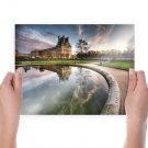 House Fountain Reflection Hdr Mansion  Poster 24x18 inch