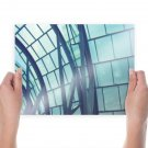 Warm Glass Wall Blue  Poster 24x18 inch