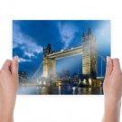 Tower Bridge Bridge London Night River  Poster 24x18 inch