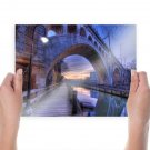Bridge River Hdr Streetlight Reflection  Poster 24x18 inch