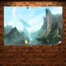 Radio Telescope Mountains River Alien Landscape Planet  Poster 36x24 inch
