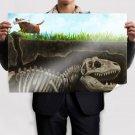 Dog Bone Dinosaur Skeleton Drawing  Poster 36x24 inch