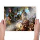 Zombie Rifle Drawing Rain  Poster 24x18 inch