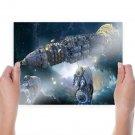 Spaceships Stars Nebula  Poster 24x18 inch