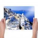 Santorini Buildings Coast Tv Movie Art Poster 24x18 inch