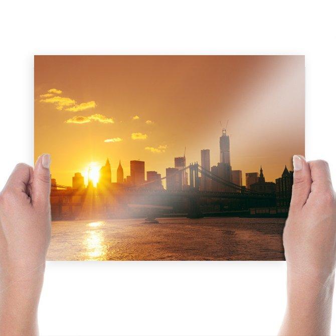 Manhattan Bridge Bridge New York Buildings Skyscrapers Sunset Ocean Tv Movie Art Poster 24x18 inch