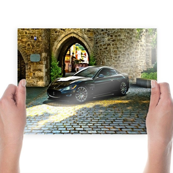 Maserati Granturismo Cobblestone Tv Movie Art Poster 24x18 inch