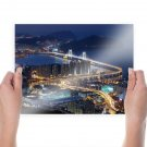 Gwangan Bridge Night Landscape Lights Night Bridge Buildings Korea Tv Movie Art Poster 24x18 inch