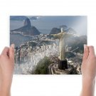 Rio De Janeiro Landscape Buildings Coast Christ The Redeemer Statue Tv Movie Art Poster 24x18 inch