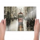 Trolley Snow Winter Street Buildings Istanbul Turkey Istiklal Avenue Tv Movie Art Poster 24x18 inch