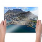 Cape Town South Africa Stadium Buildings Mountains Aerial Coast Tv Movie Art Poster 24x18 inch