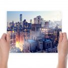 New York Buildings Skyscrapers Hdr Tv Movie Art Poster 24x18 inch