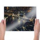 Tower Bridge Bridge London River Night Tv Movie Art Poster 24x18 inch