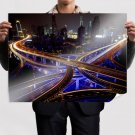 Buildings Skyscrapers Night Freeway Highway Lights Timelapse Tv Movie Art Poster 32x24 inch