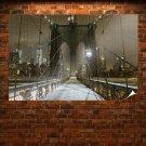 Brooklyn Bridge Bridge Cables New York Night Lights Buildings Skyscrapers Path Trail Snow Winter Tv