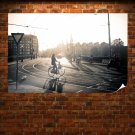 Rails Sunlight Bicycle Buildings Shadow Tv Movie Art Poster 36x24 inch