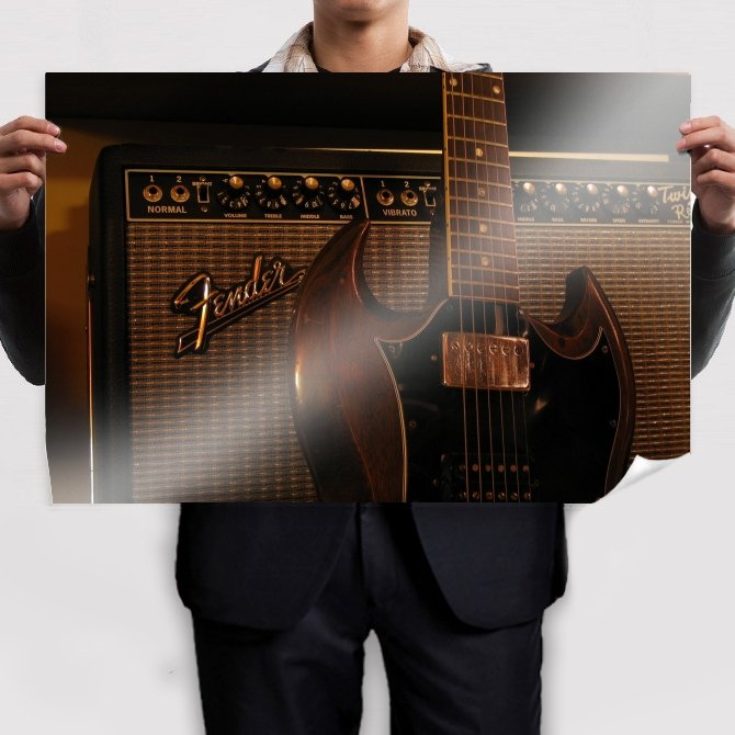 Fender Guitar Amplifier Tv Movie Art Poster 36x24 inch