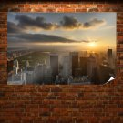 New York Buildings Skyscrapers Sunset Sunlight Central Park Tv Movie Art Poster 36x24 inch
