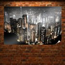 Hong Kong Buildings Skyscrapers Night Lights Tv Movie Art Poster 36x24 inch