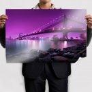 Brooklyn Bridge Bridge New York Purple Rocks Stones Buildings River Tv Movie Art Poster 36x24 inch