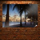 Tropical Buildings Skyscrapers Palm Trees Beach Ocean Tv Movie Art Poster 36x24 inch