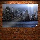 New York Buildings Skyscrapers Night Mist Fog Lights Twin Towers Tv Movie Art Poster 36x24 inch
