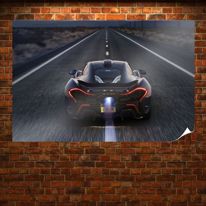Mclaren P1 Road Backfire Flame Tv Movie Art Poster 36x24 inch