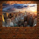 New York Buildings Skyscrapers Sunset Clouds Tv Movie Art Poster 36x24 inch