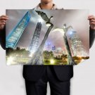 Buildings Skyscrapers Statue Night Lights Tv Movie Art Poster 36x24 inch