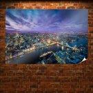 Tower Bridge London Bridge River Buildings Ship Tv Movie Art Poster 36x24 inch