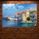 Greece Buildings Coast Boats Ocean Tv Movie Art Poster 36x24 inch