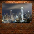 Seattle Buildings Skyscrapers Night Tv Movie Art Poster 36x24 inch