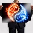 Fire And Water Yin Yang  Art Poster Print  36x24 inch