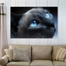 Black Cat With Blue Eyes  Art Poster Print  36x24 inch