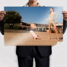 Funny Pig Prostrate Itself Under The Beauty S Pomegranate Skirt  Art Poster Print  36x24 inch