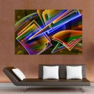 3d Neon Colorful  Art Poster Print  36x24 inch