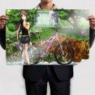 Bicycle Girl  Art Poster Print  36x24 inch