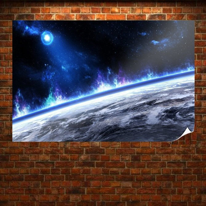 Blue Space  Art Poster Print  36x24 inch