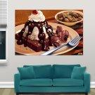Cakes Cake Chocolate Ice Cream Nuts Nut  Art Poster Print  36x24 inch