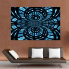 Blue And Black Abstract  Art Poster Print  36x24 inch