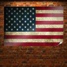 Worn Us Flag  Art Poster Print  36x24 inch