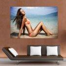 Hot Girl Suntanning On Beach  Art Poster Print  36x24 inch