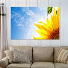 Sunflower And Sky  Art Poster Print  36x24 inch