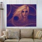 Blue Eyed Girl  Art Poster Print  32x24 inch