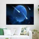 Falling Meteors  Art Poster Print  24x18 inch